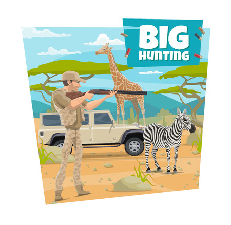 African safari hunt adventure, open season poster. Vector hunter man in hat shooting with rifle gun on wild animals zebra and giraffe, in Africa savannah