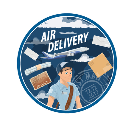 Air mail delivery mailman and postman profession, postage logistics. Vector airplane cargo or freight shipping parcel boxes with newspapers, magazines journals, postal stamps and letter envelopes