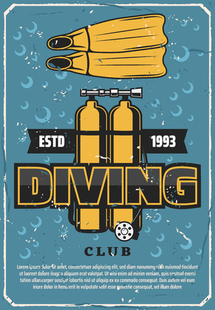 Diving sport club retro poster. Vector diver equipment, oxygen ballon and flippers. Scuba diving school or underwater adventure hobby on water background with bubbles