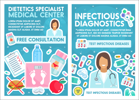 Dietetics specialist and infectious disease diagnostic medical center. Vector doctor and treatment pills, dietary health, bacteria or viruses medicine and test, medical equipment