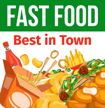 Fast food combo meal, takeaway dishes and sauce. Vector Chinese noodles, nuggets and Mexican tacos, french fries and salad, onion rings and ketchup. Fastfood cafe or bistro menu template, junkfood Standard-Bild - 111533800