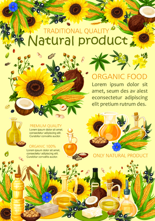 Vegetable oils cooking poster, organic natural food. Vector sunflower, coconut or avocado and hemp seed or hazelnut, quality olive oil in bottles and pitcher jars