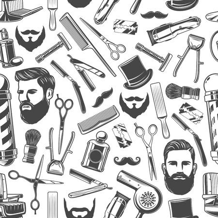 Friseursalon-Muster-Hintergrund. Vektornahtloses Design von Hipster-Schnurrbärten, Bart und Gentleman-Hut mit Rasiermesser, Haarschneider und Barbershop-Pol-Zeichen
