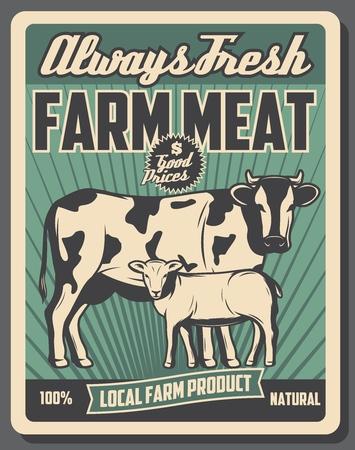 Boerderijmarkt retro poster, slager vleesproducten van veeboerderij. Vector vintage design, koe en schapen lam dieren. Landbouw en landbouw thema