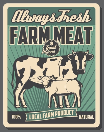 Farm market retro poster, butcher meat products from cattle farm. Vector vintage design, cow and sheep lamb animals. Agriculture and farming theme Ilustração