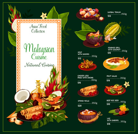 Malaysian cuisine vector dishes of sambal tehlur, shrimp soup or seabass fish with coconut and fried chicken legs with onion and fruit salad or spring-rolls and lax. Traditional dishes, vector menu
