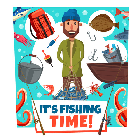 Fishing time cartoon poster of man with boat, and fish catch on lures and tackles. Vector design of seafood crab or octopus and marlin, fishing rod and hooks with camp haversack