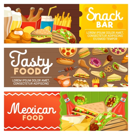Fast food, Mexican cuisine and snack bar banners with takeaway dishes. Vector hamburger, hot dog and sandwich, pizza and burrito, french fries and chicken, donut and taco, nachos and barbecue