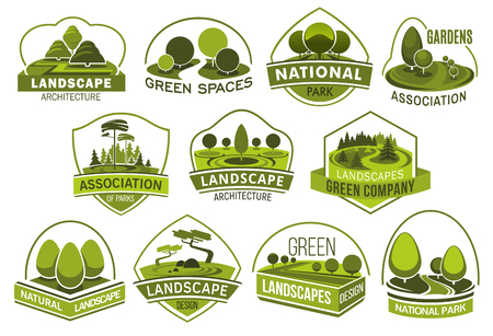 Landscape design company vector icons, urban horticulture planting premium service. Vector isolated forest trees or parkland squares and parks, green project design of city ecology, gardening