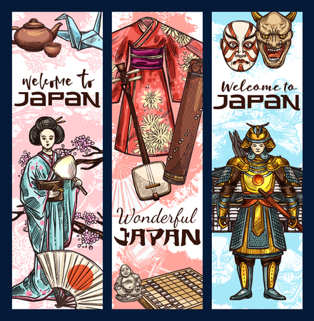 Japan culture sketch banners. Vector famous Japanese Fuji mount, geisha kimono or samurai and ninja or tea ceremony and music instruments or kabuki theater and traditional symbols
