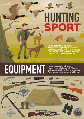 Hunting sport equipment and hunter ammunition. Vector hunter man with rifle gun and crossbow, bullets and bandolier, hunting dog, navigation compass and camp tent, wild deer, fox and ducks
