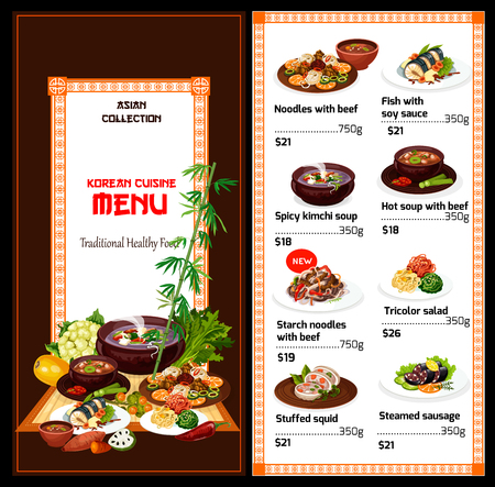 Korean cuisine traditional food menu. Vector beef dishes with starch noodles, fish in soy sauce, spicy kimchi soup and steamed sausage, hot soup with meat, stuffed squid with tricolor salad