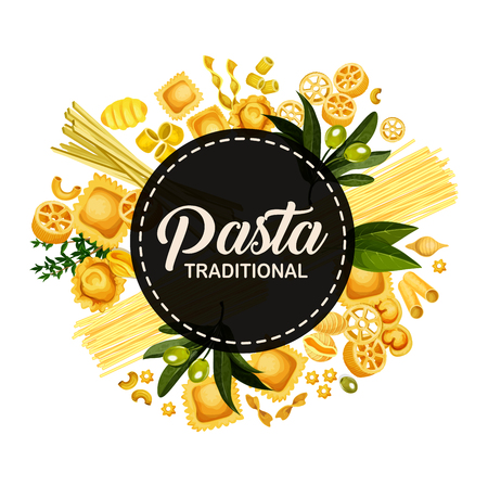 Italian pasta menu cover design, Italy traditional cuisine restaurant spaghetti, fettucine and ravioli. Vector pasta tagliatelle, lasagna or linguine and pappardelle with farfalle. Round banner