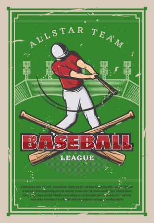 Baseball player with bat, retro poster. Sport league championship or tournament cup. Vector vintage design of baseball ball and bat on green field of baseball stadium Illustration