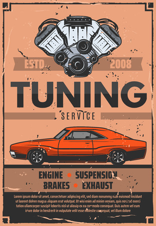 Car tuning service, vector. Mechanic pimping of engine, suspension or exhaust and brakes. Vector vintage design of vehicle auto repair and garage station