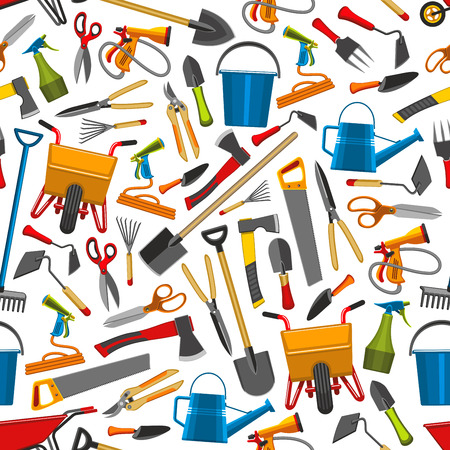 Gardening tools and agriculture pattern. Vector seamless design of farm boots, rake and spade, watering can and wheelbarrow , glove and boots, pruners and shovel gardening tools