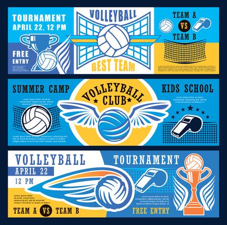 Banners de torneos de juegos deportivos de voleibol o escuela deportiva para niños y campamento de clubes. Diseño vectorial de pelota de voleibol y copa de la victoria del campeonato con silbato de red y árbitro. Colores azul, amarillo y blanco.