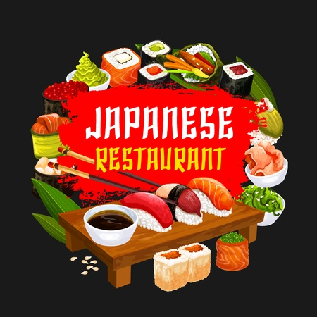 Sushi restaurant, Japanese cuisine food. Vector seafood and rolls, tuna and salmon sashimi, eel unagi maki and soy sauce, shrimp tempura and ginger in bowl with chopsticks