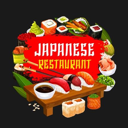 Sushi restaurant, Japanese cuisine food. Vector seafood and rolls, tuna and salmon sashimi, eel unagi maki and soy sauce, shrimp tempura and ginger in bowl with chopsticks