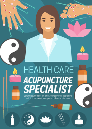 Acupuncture doctor, alternative medicine. Vector needles, foot and palm with acupoints, candle and essential oil bottles, yin and yang sign and pink flower of sacred lotus