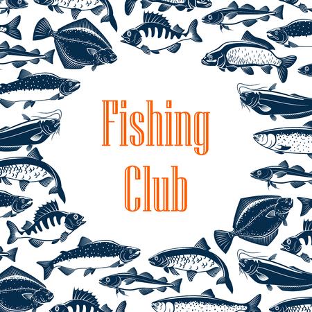 Cornice di pesci sul poster per il club di pesca. Modello di pesca per la comunità di pescatori, attività all'aperto. Trota e pesce persico, aringa e marlin, pesce gatto e tonno, salmone e luccio vettore monocromatico con segno Vettoriali
