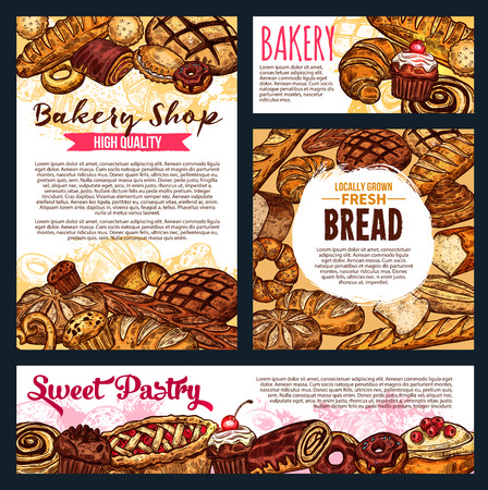 Bakery shop banners, bread and baked pastry food. Vector wheat loaf and rye bagel or croissant, baguette and pretzel, pie and bun with poppy or cupcake. Muffin and donut with chocolate