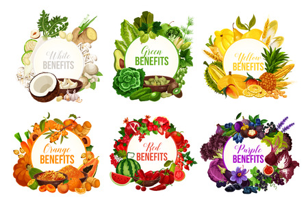 Fruits and vegetables, detox color diet vector icons. Berries and nuts, herbs, spices and dried fruits. Food sorted by colors for proper nutrition and dieting program, benefits for health and immunity Illustration