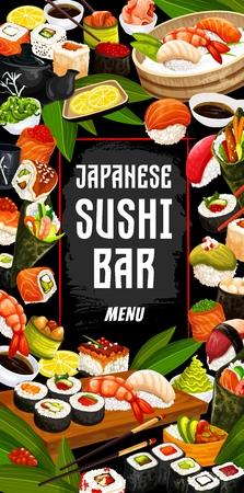 Sushi bar, Japanese cuisine food. Vector seafood sushi rolls, salmon sashimi or eel unagi maki, shrimp tempura and rice bowl, soy sauce and caviar. Teapot with green tea and lemon slices