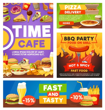 Fast food cafe or restaurant meals. Vector fastfood menu of coffee, sandwich or burger, nachos and tacos, pizza with beer and barbecue party sausage, dessert cakes and ice cream dessert