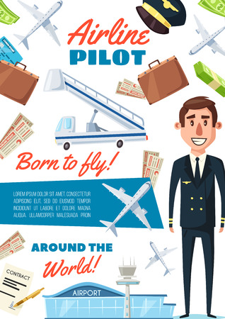 Pilot in uniform, recruitment transportation company vacancy. Vector aircraft pilot or aviator and airport, airplane and ticket, suitcase and travel plane, aircrew member