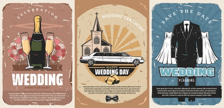 Wedding retro posters or marriage ceremony vintage shabby invitations. Champagne and glasses, bouquet of roses and limousine, church and rings. Suit for groom and dress or gown for bride vector