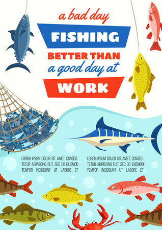 Fishing sport poster, fish in net at river bank. Vector carp fish, blue marlin and perch, pike and herring, trout and bream, crab and salmon. Outdoor activity and fishery industry theme