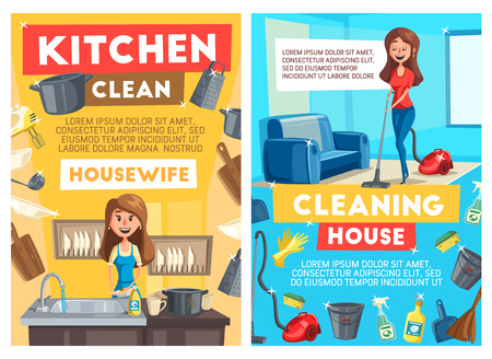 Housework cleaning and dishwashing or cooking, vector banners. Housewife woman with vacuum cleaner or near sink washing dishes, tableware and saucepan in kitchen, bucket and sprayers with sponge