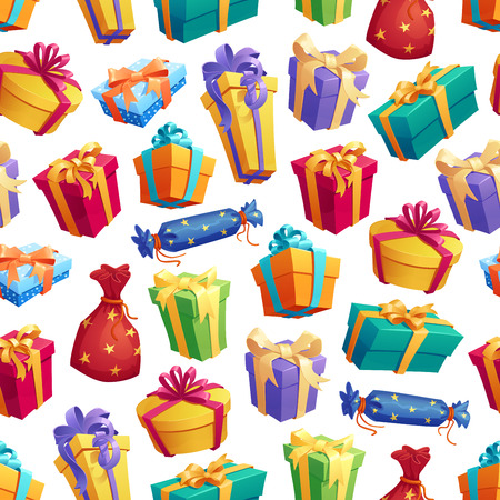 Gift boxes with bow seamless pattern. Cardboard containers wrapped in bright color paper with ribbon for holiday or birthday. Festive endless texture of decorated greeting presents vector on white