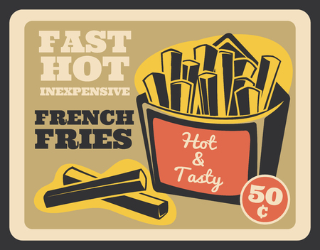 Fast food retro banner with french fries snack. Crispy vector fried potato slices in cardboard pack vintage poster, fastfood cafe signboard. Street hot and tasty meal 일러스트