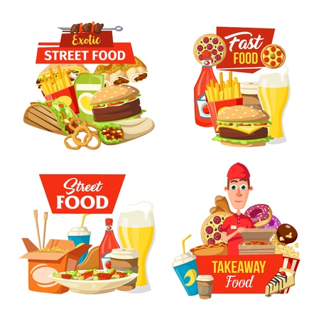 Fast food delivery icons with street meals and deliveryman. Vector burger and burrito, tacos and onion rings, french fries and pizza, barbecue and hot dog, chinese noodles and salad, cake and donut Illustration