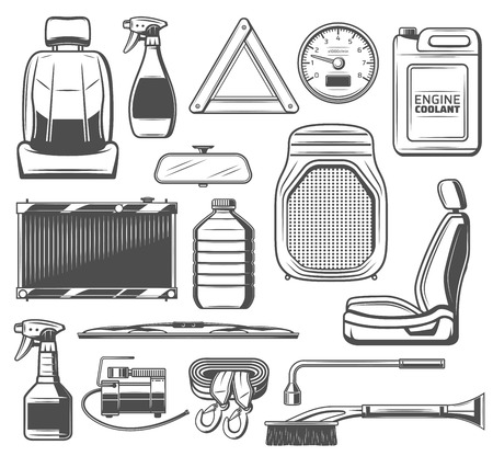Car service, spare parts and accessories of vehicle maintenance. Seat and oil canister, speedometer and coolant, brush and scriber, triangle and wheel wrench, charger and wipers, radiator ans sprayer