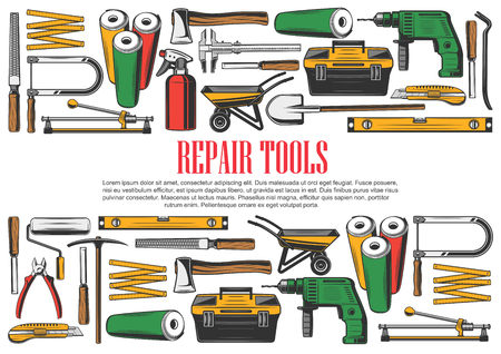 Rpair and construction tools set. Wallpaper rolls and axe, drill and toolkit, file and fretsaw, ruler and spade, wheelbarrow and pliers, jigsaw and nippers, glass cutter instruments