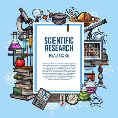 Schizzo di vettore di ricerca scientifica, attrezzature scientifiche e di laboratorio. Boccette da laboratorio di chimica, modello di pianeta e microscopio, pila di libri, molecola e atomo di DNA, termometro e computer
