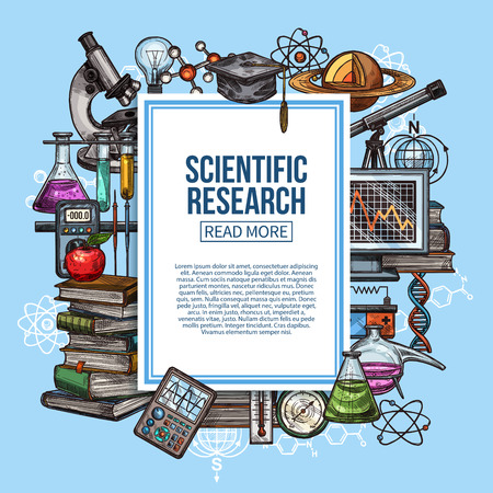 Science research, scientific and laboratory equipment vector sketch. Chemistry lab flasks, planet model and microscope, books pile, DNA molecule and atom, thermometer and computer