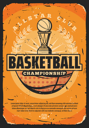 Basketball sport retro poster with basket and heavy ball. Vector vintage design of basketball championship or all stars tournament, team game with ball, invitation old shabby leaflet
