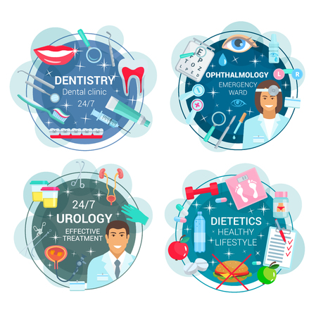 Dentistry and ophthalmology, urology and dietetics medicine. Vector healthcare icons of doctors and medical tools. Braces and toothpaste, eye and lens, kidney and bladder, food and diet