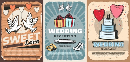 Marriage or wedding ceremony invitation with dove, gifts and cake. Vector pigeons and heart-shaped balloons, present boxes with bow and limousine. Bride stilettos shoes and gold rings Illustration