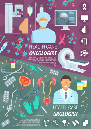 Medical poster with oncologist and urologist doctor. Chemotherapy pill and capsule, brain and breast, MRI scanner, medication pills. Urinary system anatomy and rubber gloves, syringe and scalpel