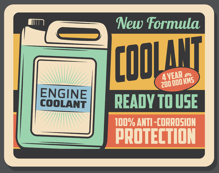 Car engine coolant product in plastic container, vector retro poster. Emulsion in liquid form, garage station vintage billboard. Vehicle service and maintenance