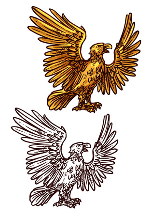 Eagle victory and power mascot. Vector heraldic golden element. Mythical bird or griffin with spread golden wings and sharp claws as symbol of strength standing in profile Banque d'images - 127701302