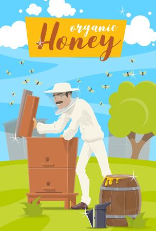 Apicultura, industria agrícola. Vector apiario y apicultor hombre en ropa protectora tomando miel de la colmena al barril de madera. Enjambre de abejas volando alrededor de la granja apícola, prado verde Ilustración de vector
