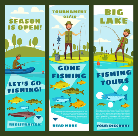 Leisure sport banners with fisherman and fish. Vector fisher on shore or in inflatable boat with rod and catch on lake. Catfish and perch, pike and carp, marlin, salmon and trout