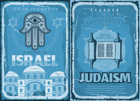 Welcome to Israel travel retro poster, Judaism religion. Vector hamsa hand and Israeli synagogue, ingot with holy text from Torah vintage leaflet. Journey to foreign country, religious symbols