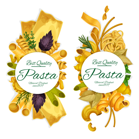 Pasta natural product vector banners with macaroni and spaghetti, fusilli and farfalle, rigatoni and lasagna, best hard sorts. Italian cuisine element with basil and dill herbs Illustration